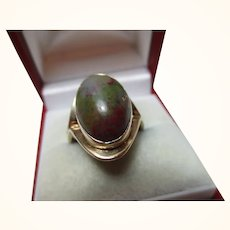 Attractive Antique 9ct Solid Gold 'Cushion Shaped' Agate Gemstone Ring{5.6 Grams}