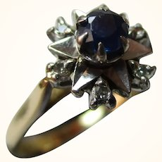 Attractive{Birmingham 1973} 18ct Solid Gold Diamond + Sapphire Gemstone Cluster Ring