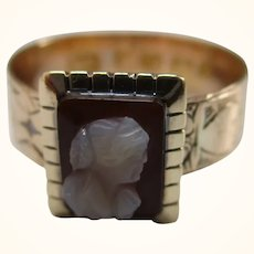 Quality Victorian{Birmingham 1875} 18ct Solid Gold Cameo Gemstone Engraved Wedding Band{3.0 Grams}