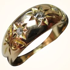 Decorative Antique 18ct Solid Gold 3-Stone Diamond Gemstone Ring{3.8 Grams}