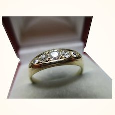 Pretty Antique 18ct Solid Gold 5-Stone Diamond Gemstone Ring{0.45Ct Diamond Weight}{3.6 Grams}