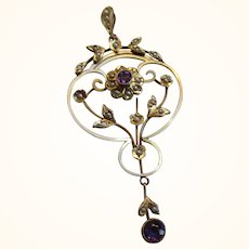 Pretty Antique 9ct Solid Gold Amethyst + Split Seed-Pearl Gemstone 'Open-Work Pendant'