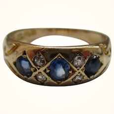 Decorative Early Edwardian{Birmingham 1901} 18ct Solid Gold 7-Stone  Diamond + Sapphire Gemstone Ring