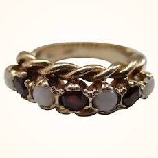 Attractive 9ct Solid 7-Stone Gold Opal + Garnet Gemstone Ring{5.5 Grams}