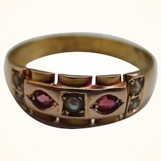 Ornate Victorian{Birmingham 1898} 15ct Solid 7-Stone Gold Ruby + Split Seed-Pearl Gemstone Ring