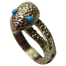 Attractive 9ct Solid Gold Turquoise Gemstone 'Snake' Ring{6.6 Grams}