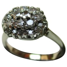 Majestic 9ct Solid Gold 'Cushion Shaped' Diamond Gemstone Cluster Ring{0.75 Ct Diamond Weight}