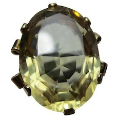 Ornate Antique 9ct Solid Gold, 'Cushion Shaped' Citrine Gemstone Ring{8.7 Grams}