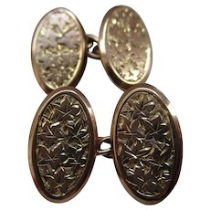 Gents' Decorative Victorian{Birmingham 1896} 9ct Solid Rose Gold, Oval Shaped 'Foliate Engraved' Chainlink Cufflinks.