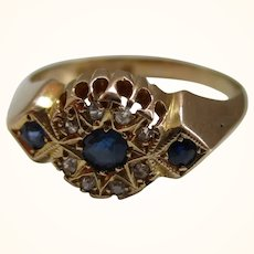 Decorative Antique{Chester 1915} 18ct Solid Gold Diamond + Sapphire Gemstone Cluster Ring{3.1 Grams}