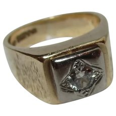 Gents' Quality 9ct Solid Gold Diamond Solitaire Gemstone Ring{14.3 Grams}{0.45 Ct Diamond Weight}