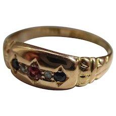 Decorative Antique{Chester 1916} 18ct Gold 5-Stone Diamond, Sapphire + Ruby Gemstone Ring