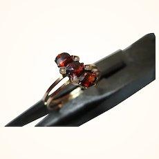 Pretty Antique 14ct Solid Rose Gold Garnet + Split Seed-Pearl Gemstone Ring