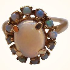 Pretty 14ct Solid Gold Opal Gemstone Cluster Ring{3.5 Grams}