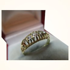 Attractive Edwardian{Birmingham 1910} 18ct Solid Gold 5-Stone Diamond Gemstone Ring{0.15Ct Diamond Weight}