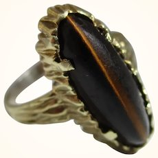 Attractive 14ct Solid Gold 'Marquise Shaped' Tiger's Eye Gemstone Ring{5.3 Grams}