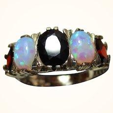Pretty 9ct Solid Gold 5-Stone Opal + Garnet Gemstone Ring{3.2 Grams}