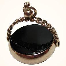 Decorative Victorian{Birmingham 1899} 9ct Gold Double Black Onyx Gemstone 'Swivel Fob Pendant'{11.5Grams}