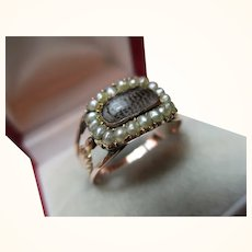 Ornate Georgian 15ct Solid Rose Gold Split Seed-Pearl Gemstone 'Memorial' Ring