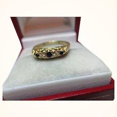 Decorative Antique 18ct Solid Gold 5-Stone Diamond + Sapphire Gemstone Ring{3.0 Grams}