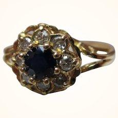 Pretty{Birmingham 1971} 18ct Solid Gold 9-Stone Diamond + Sapphire Gemstone Cluster Ring{3.5 Grams}