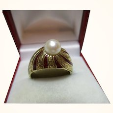 Majestic Antique 18ct Solid Gold Red Enamel + Full Seed-Pearl Gemstone 'Cocktail' Ring{6.7 Grams}