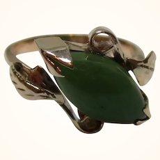 Attractive Antique 14ct Solid Gold 'Foliate Structured' Jadeite Gemstone Ring{3.5 Grams}