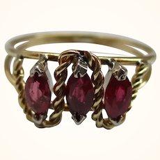 Pretty 18ct Solid Gold 3-Stone Ruby Gemstone Ring
