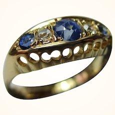 Decorative Antique{Birmingham 1918} 18ct Solid Gold 5-Stone Diamond + Sapphire Gemstone Ring