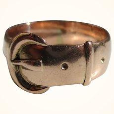 Decorative Antique{Birmingham 1918} 9ct Solid Rose Gold 'Buckle' Ring{5.9 Grams}