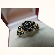 Quality Georgian{circa 1827} 18ct Solid Gold Dark Sapphire Gemstone Cluster Ring