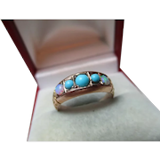 Attractive Edwardian{Chester 1908} 9ct Gold 5-Stone Opal + Turquoise Gemstone Ring