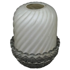 Clarke Fairy Lamp with Twisted Rib Cased Opal Glass Frosted  shade