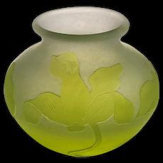 Signed Karl Lindeberg, Kosta Acid Cut Back & Engraved Cameo Glass Vase w/Wild Orchids
