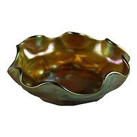 Art Nouveau L.C.T. Louis Comfort Tiffany Gold Favrile Salt Cellar Signed