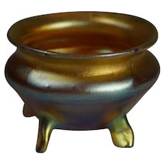 Stunning Louis Comfort Tiffany Cauldron Style signed L.C.T. Gold Favrile Art Nouverau Salt Cellar