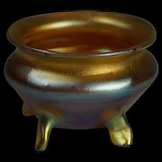 Stunning Louis Comfort Tiffany Cauldron Style signed L.C.T. Gold Favrile Art Nouverau Salt Cellar