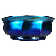 Louis Comfort Tiffany signed Blue Favrile Footed Bowl