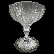 J. & L. Lobmeyr cut and engraved champagne glass, Vienna 1884.
