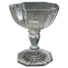 J. & L. Lobmeyr cut, engraved, and decorated confectionery bowl, Vienna 1884.
