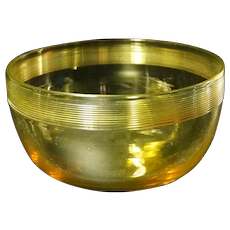 Carder Era Steuben Bristol Yellow Fingerbowl w/Threaded Glass