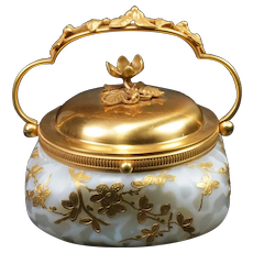 RARE Webb Flower & Acorn Air Trap Mother of Pearl Satin Glass Decorated Lidded Box