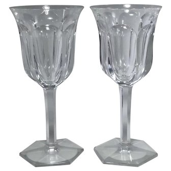 Baccarat Crystal Malmaison Claret Red Wine Glasses Goblets