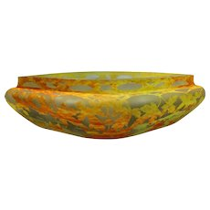 Fantastic large Daum Nancy Diamond Shaped Center Console with Autumn Maple leaves in in applications of vitrified powders