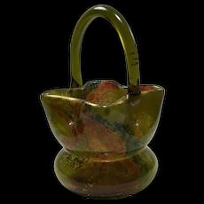 SIGNED Ernest Baptiste Léveillé, Paris, Craquelé  Art Glass Handled Basket c. 1900.