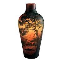 French DeVez Cameo Glass Mountain Lake Landscape Vase