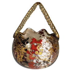 Ernest Baptiste Léveillé, Paris c. 1900 Art Glass Basket