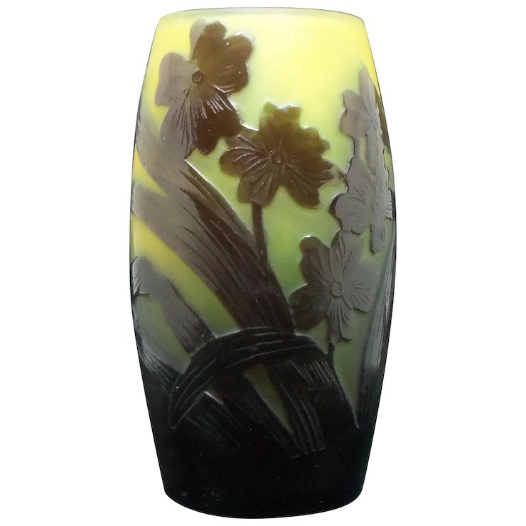 Galle Cameo Glass Vase With Flowers Glasscollector Ruby Lane