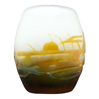Galle' Cameo Glass Aquatic Landscape Vase