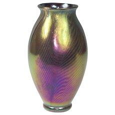 RARE Kew Blas BLACK Iridescent Pulled Feather Vase